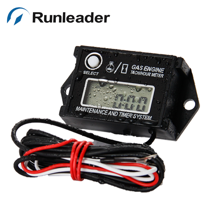 Hot selling! Runleader Water proof Resettable Inductive gasoline  motocross engine Tach/Hour Meter <br><br>Aliexpress