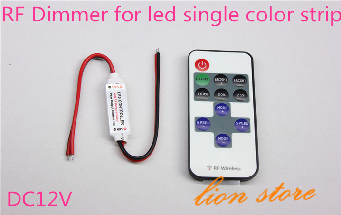 RF Remote Controller H3#R DC 12V 11 Keys Mini Dimmer for Led Single Color Strip 5050 3528 free shipping(China (Mainland))