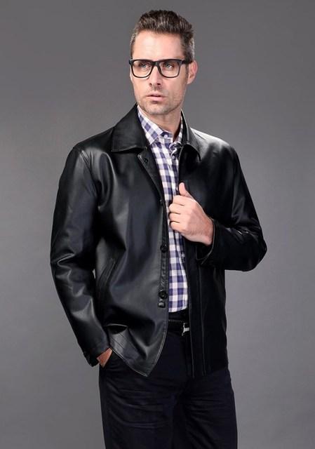 Овчина кожа куртка мужчины в весна и осень однобортная свободного покроя с отложным вниз воротник пуговица натуральная кожа пальто