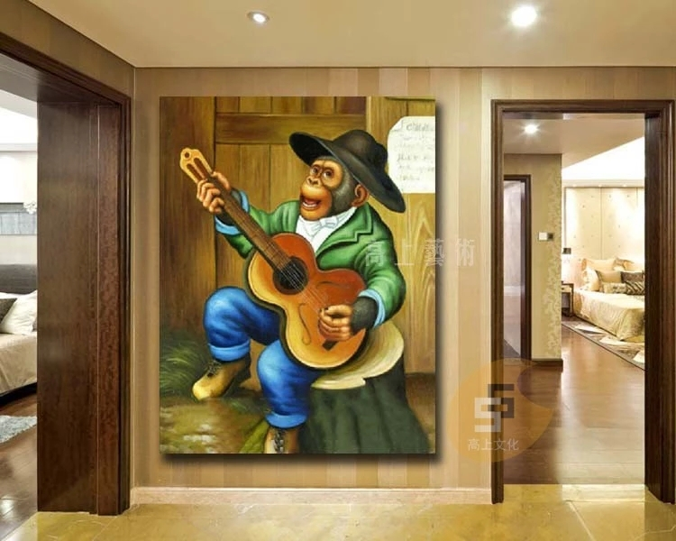 hand-drawn knife painting on canvas painting humor funny monkey playing guitar paintings decorative painting children's rooms(China (Mainland))