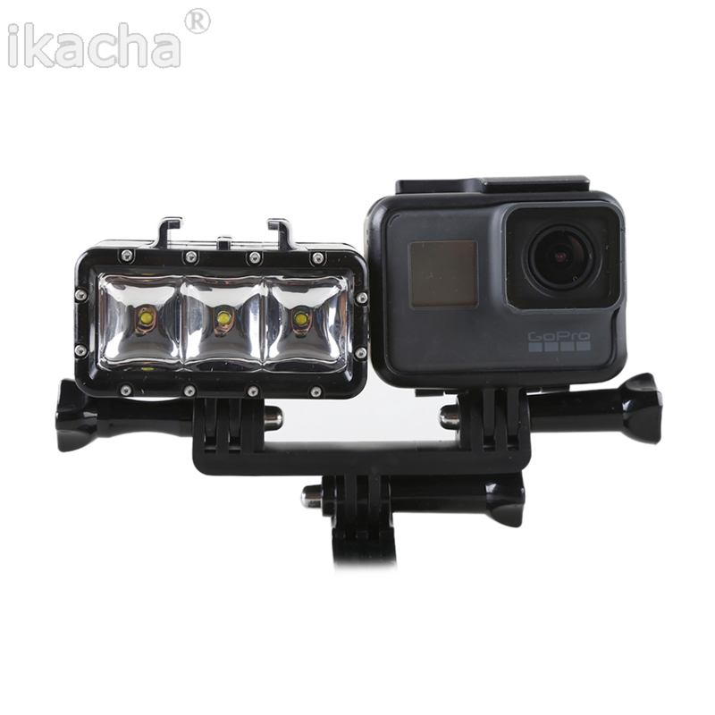 New GoPro 3 Battery + LED Fill Light Underwater 30m Diving Flash Light For Gopro Hero 5 4 3+ 3 Session For XiaoMi Yi 4K
