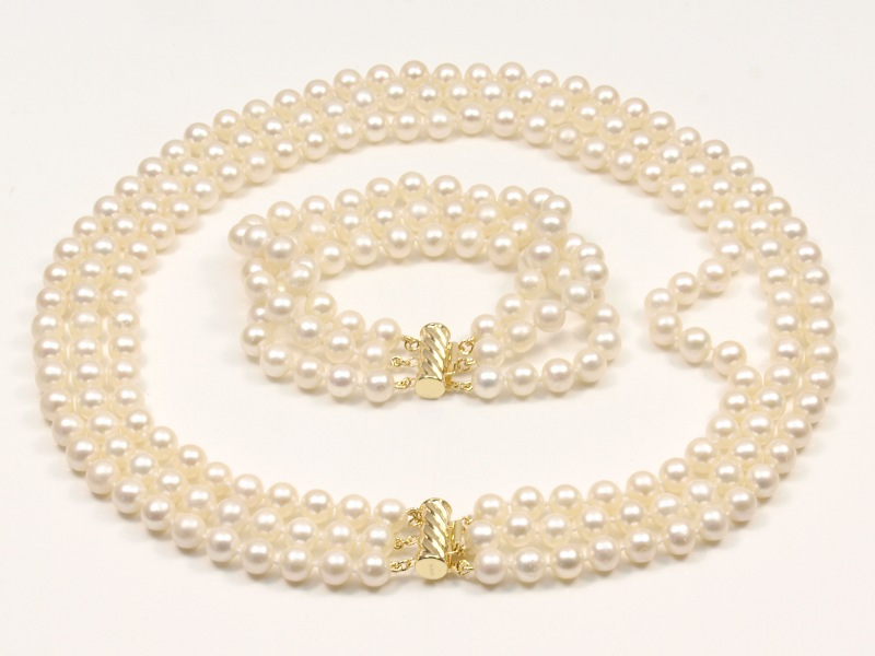 Three rows pearl necklace bracelet suitAA8-9mm Seawater cultured freshwater pearls 14 k / 20 straight clasp, simple fashion - Dream jewels store