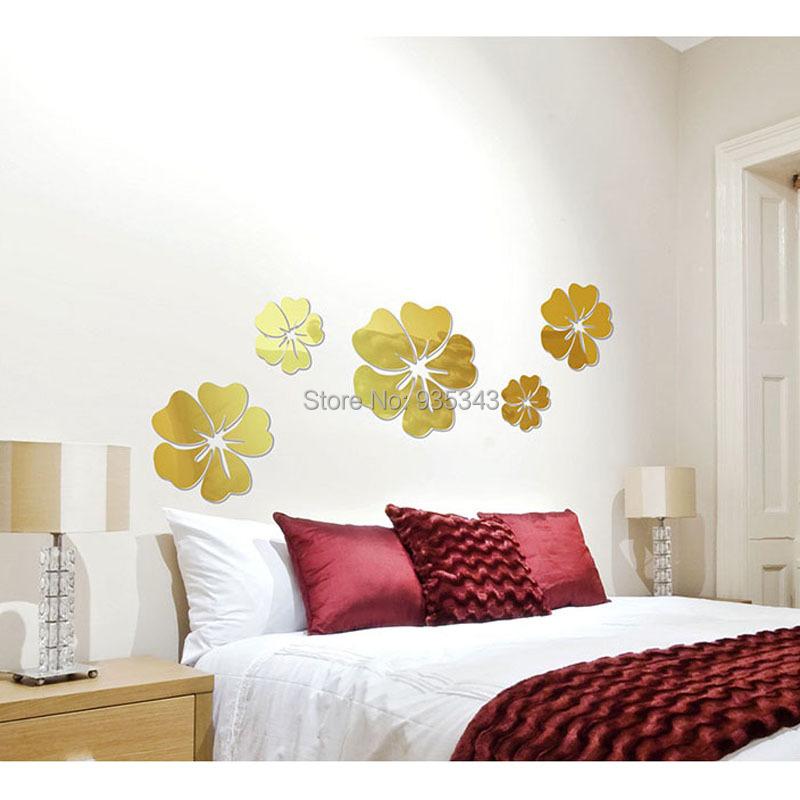 Cinco flores espejo acrílico pegatinas de pared 3D salón fondo Mural de la venta directa(China (Mainland))