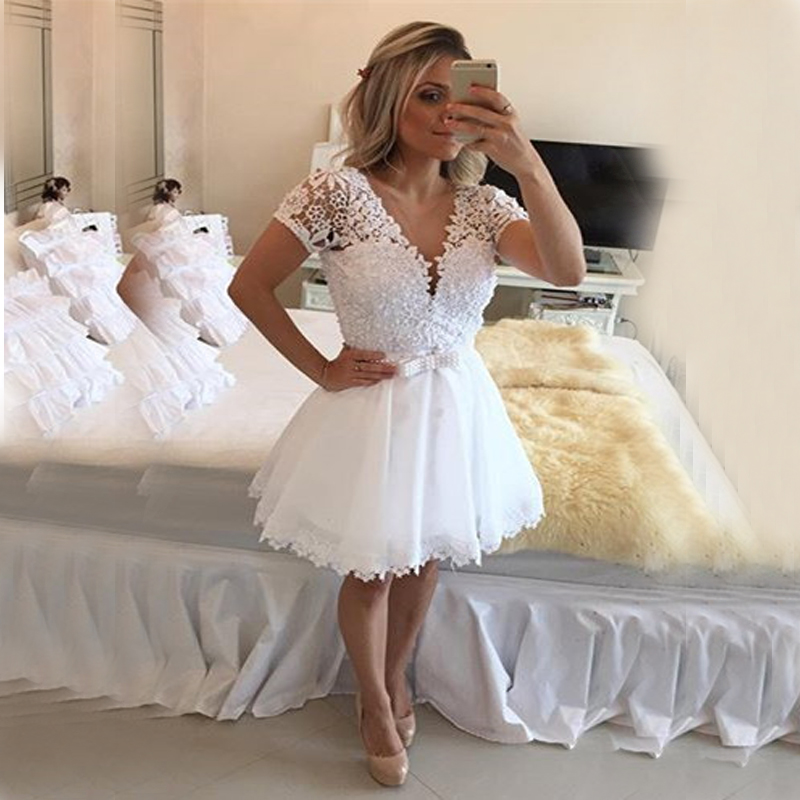 Plus Size Short Ivory Wedding Dresses : Short sleeve sexy backless plus size bridal gowns in wedding dresses