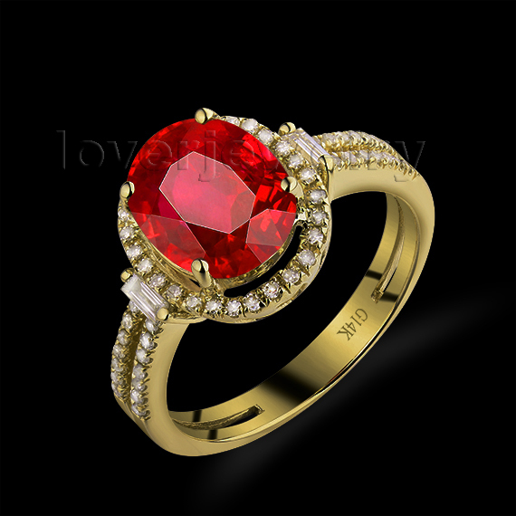 Hot Oval 8x10mm 14Kt Yellow Gold Diamond Ring Ruby Engagement Ruby Ring For S