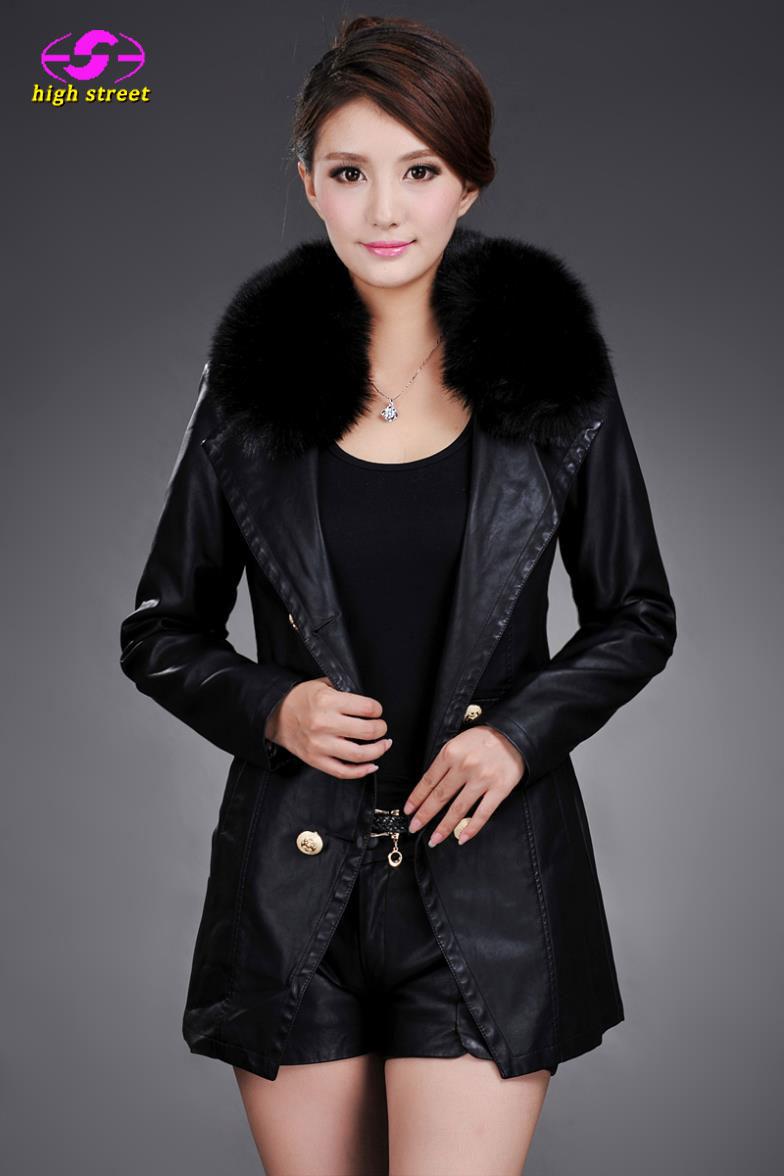 todays deals lederjacke womens-autumn-jackets Winter New High-end Slim Faux Fox Fur Collar Cotton Leather Long Coat Women