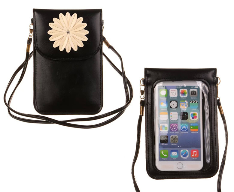 PU Leather cell phone bag Clear PVC Window Pouch woman fashion handy mini cute wallet purse shoulder crossbody - Happy-shipping store