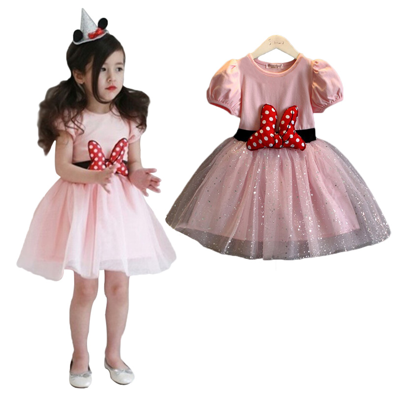 2015 Autumn Winter Red Girls Christmas Dress Dot Sequins Bow Minnie Dress Kids Casual Party Dresses for Girls Children Clothing(China (Mainland))