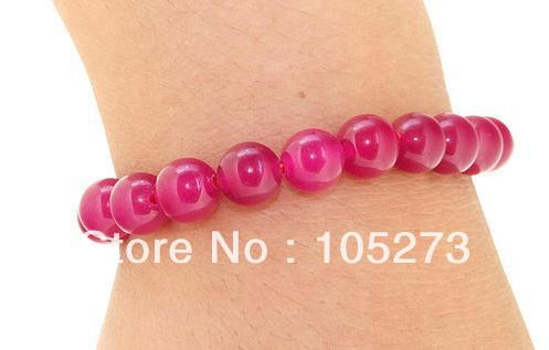 Wholesale Charm Round 8mm Red color Jade Bracelet Stretch Gem Stone Beads 7.5'' Bracelet Fashion Jewelry New Free Shipping
