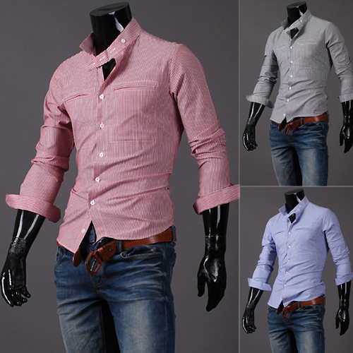 New 2014 Style Fashion Casual Stripe Two Pocket Design Long Sleeve Slim Fit Polo Shirt - So crazy fashion store