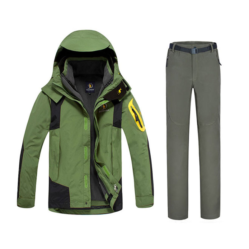 Dropshipping new arrival TWO pieces male winter ski snow suit jacket and pants Windproof Waterproof men sport outdoor suits