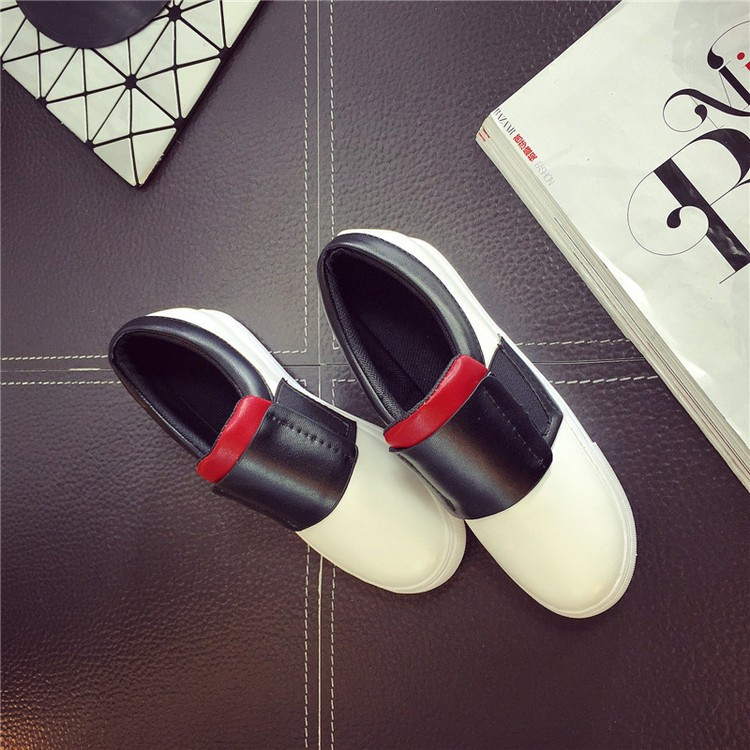 2016 New Spring Fall Fashion Flat Loafers Shoes Platform A Pedal Lazy Women Shoes Female Single Shoes Black White ZK3.5