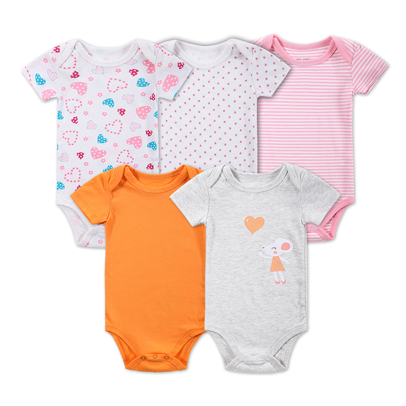 2016 New 5 Pcs/Lot Baby Boy Clothes Newborn Baby Bodysuit Short Sleeved 100% Cotton Baby Clothes Baby Bodysuit Set Factory Price(China (Mainland))