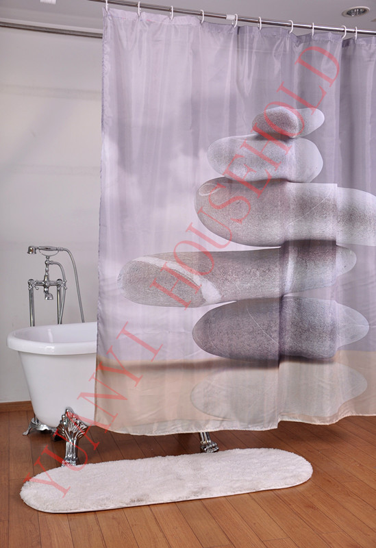 """Bathroom Polyester Fabric Printed Stone Scenic Shower Curtains Waterproof Washable Bath Curtains 72*72"""" Presented 12Pcs Hooks(China (Mainland))"""