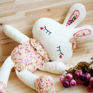 J1 FREE Shipping 25cm plush flower rabbit toy doll, home decoration 10pcs/lot