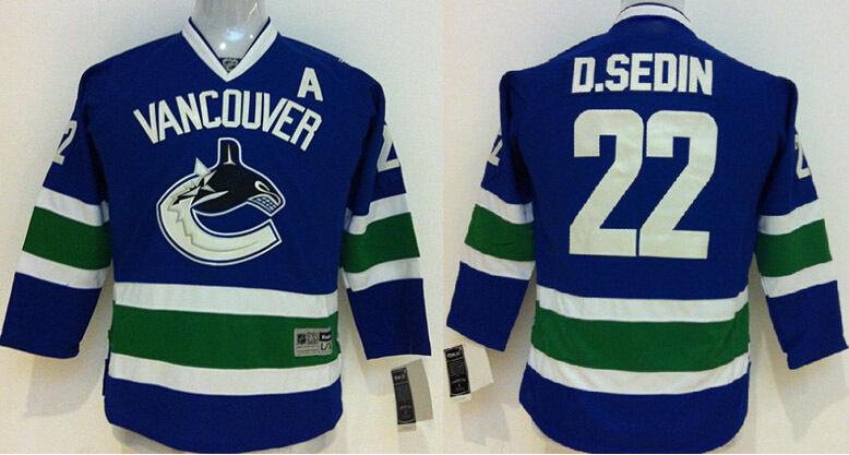 Горячее надувательство Ванкувер Кэнакс детские майки #22 Даниэль седин синий аутентичные сшитые хоккейные майки,смешать Заказы,вышивка логотипов