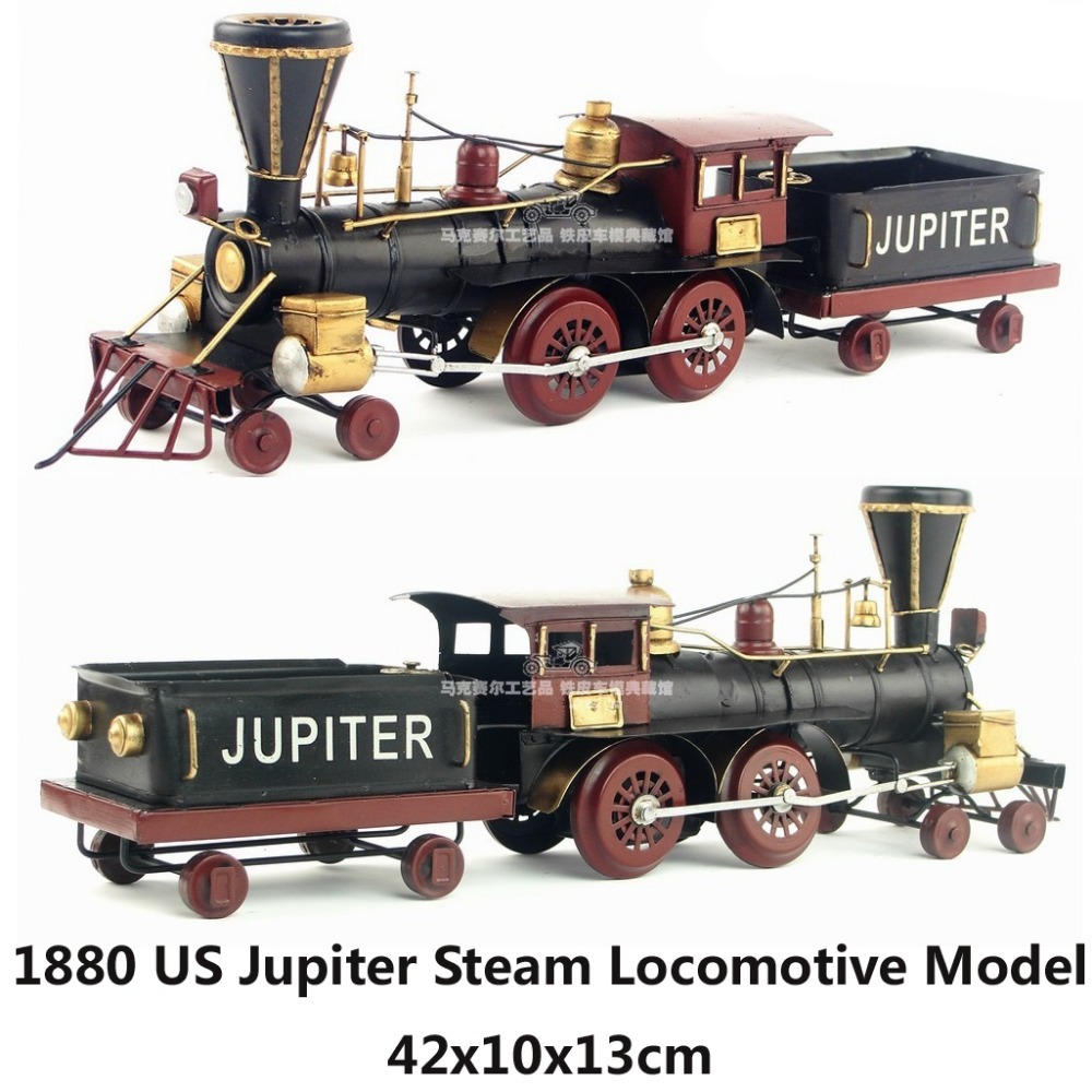 1880 US Jupiter Steam Locomotive handmade vintage metal train model home office bar decoration gift(China (Mainland))