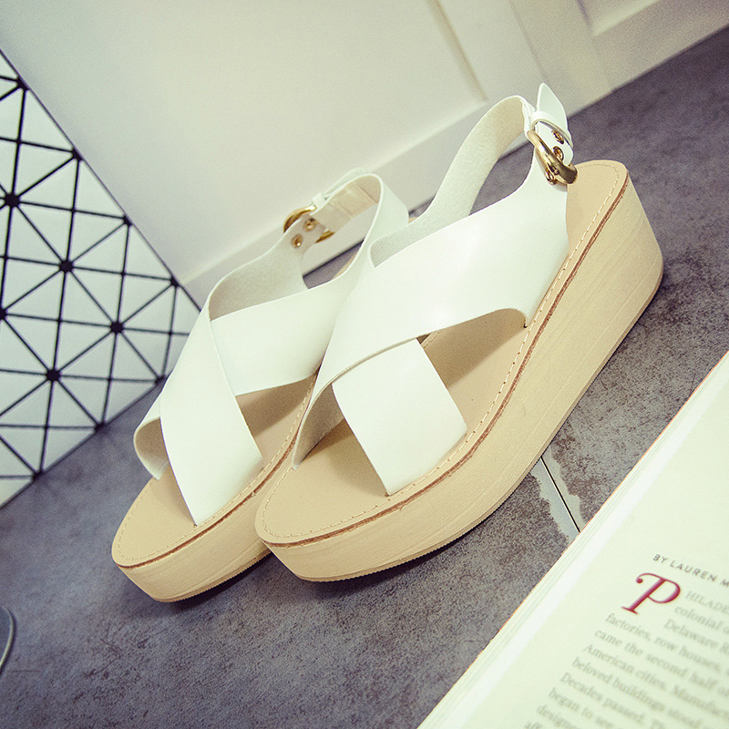 2016 Fashion Women Shoes Sandal Woman Casual Plain Buckle Strap Solid High Heels Wedge Sandals Women Sanglaide Zapatos Mujer(China (Mainland))