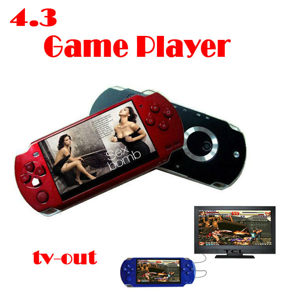by dhl or ems 20 pieces NEW 4GB 4.3 inch Video Game 1.3 M Camera MP3 MP4 MP5 Console Player + TV out(China (Mainland))