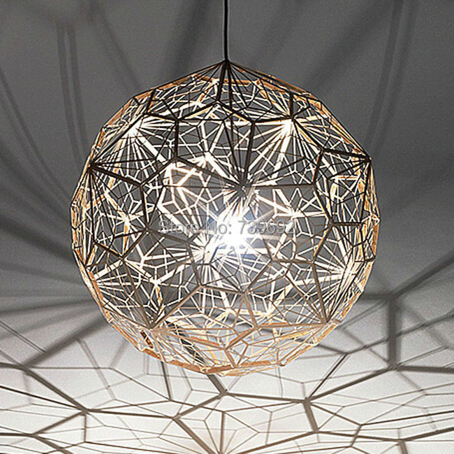 Europe style Dia 25cm/38cm/46cm Silver/Gold Pendant Lamps New Modern Rose Glod Etch Web Pendant Lights