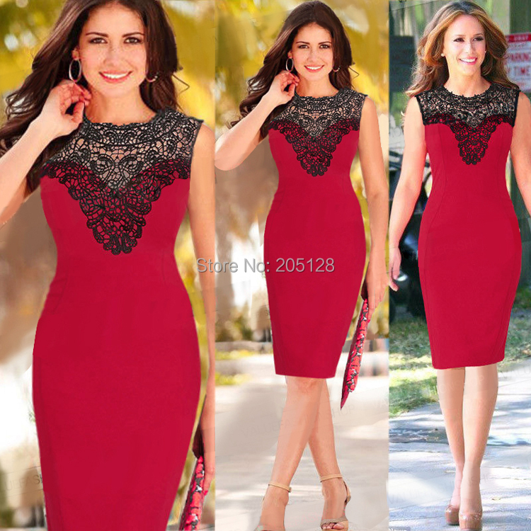 Free shipping Sexy Celebrity Women red Crochet Lace Party Evening Bodycon Shift Pencil Dress(China (Mainland))