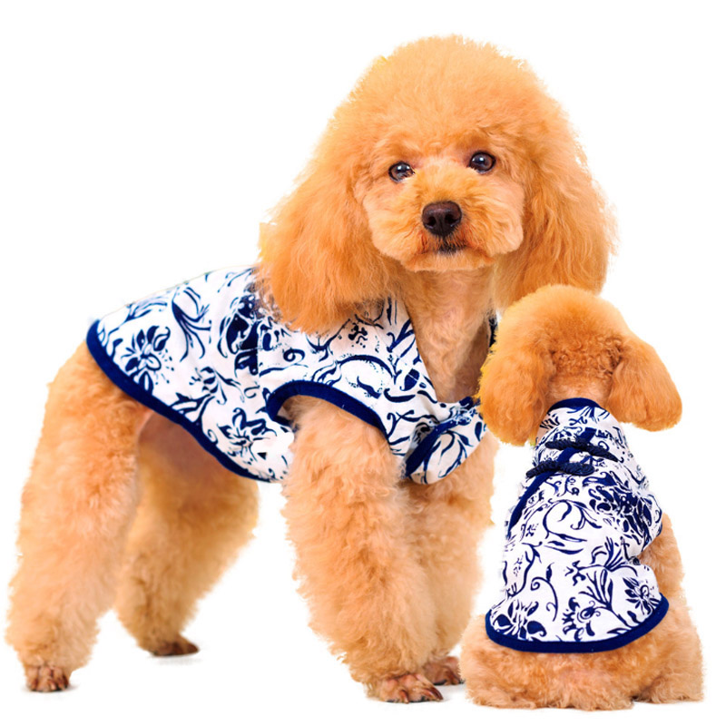 2016 New Fashion Summer Dress Blue And White China Patterns Cat Dog Puppy Dress For Pets Oriental Exotic Chic Skirt Dog Clothes(China (Mainland))