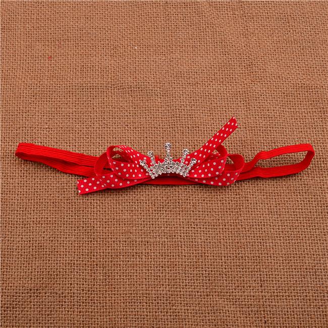 2014! Handmade Grosgrain Ribbon Bow headband baby Girls satin ribbon bow headband Crown drill Hair Accessories Craft 1pcs/lot(China (Mainland))