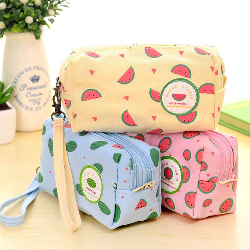 Cute Fruit Pencil Cases Double Zipper Large Capacity Canvas Pencil Student Stationery Office Supplies(China (Mainland))
