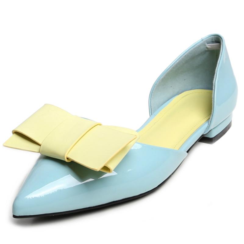 Фотография full grain genuine leather flat heels sweet women summer shoes 2016 contrast color bow up fashion ladies casual shallow flats