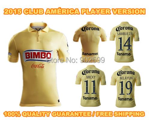 2015 Club America home YELLOW Raul Sambueza M.LAYUN MICKY ss best quality player version soccer football jersey shirt(China (Mainland))
