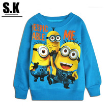 SK Cotton Quality Fabrics Minion T Shirt For Girls 2016 Fashion Children Boys Girl Sweatshirt Despicable Me Baby Clothing