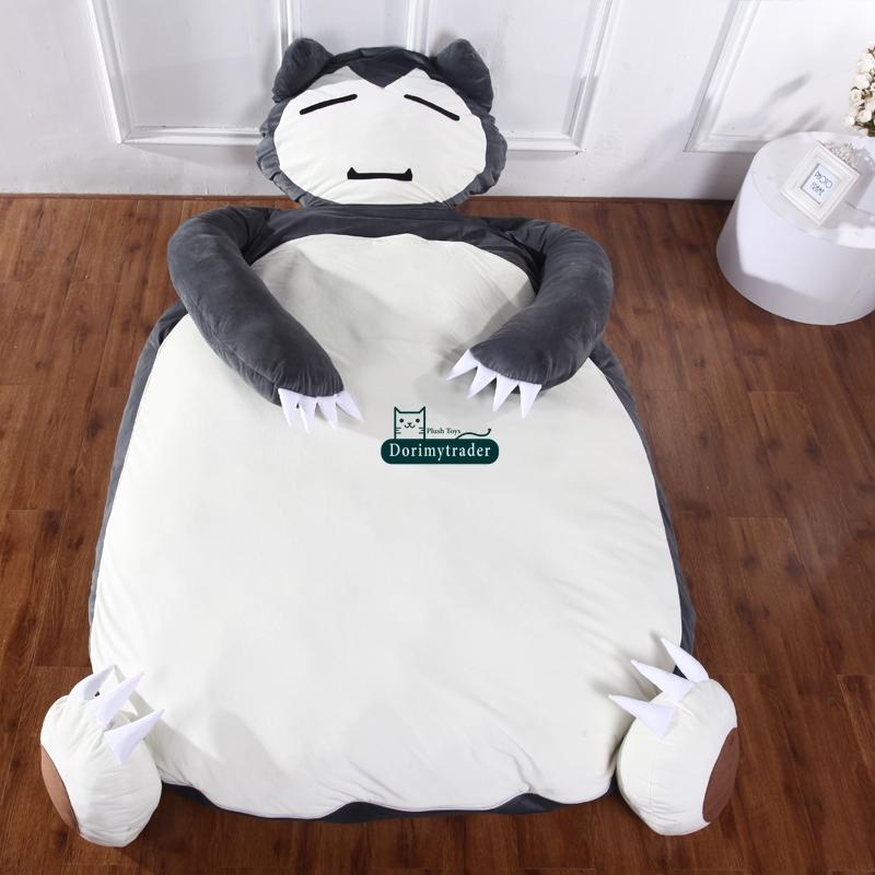 Dorimytrader 230cm X 135cm Anime Snorlax Sleeping Bag Soft Plush Beanbag Bed Tatami Mattress Nice Gift Free Shipping DY60374(China (Mainland))