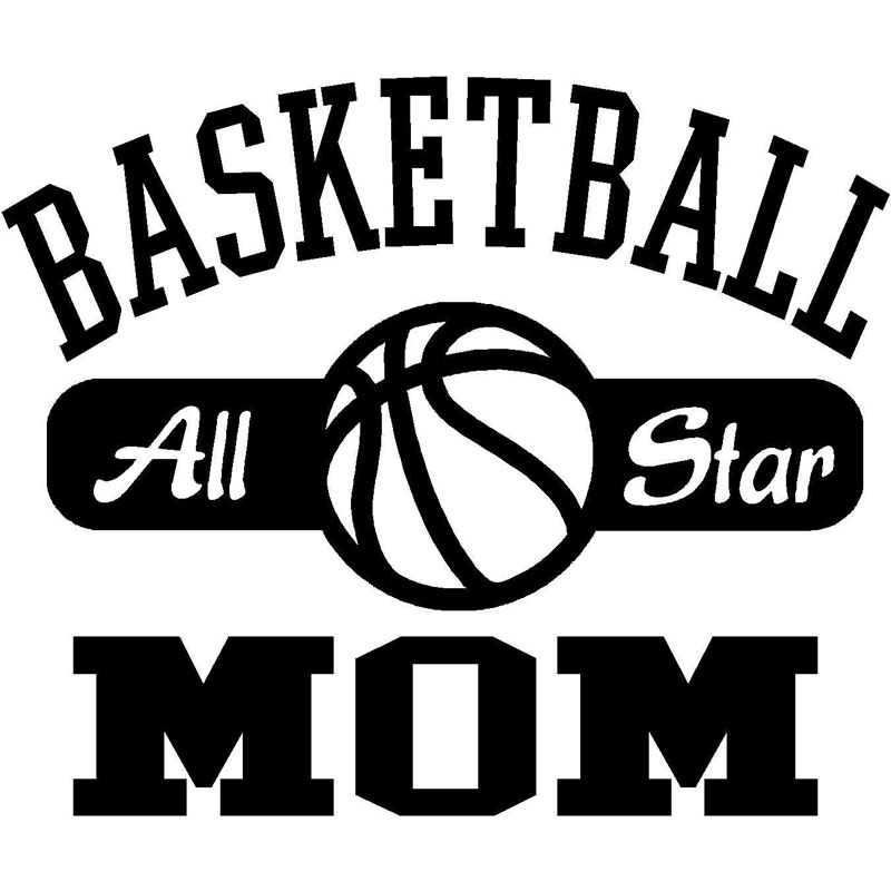 16CM*13.5CM Basket Ball Mom Sports Car Styling Accessories Motorcycle Car Stickers And Decals Black Sliver C8-0371(China (Mainland))