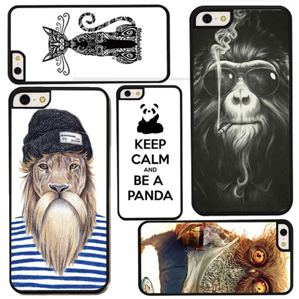 For iPhone 4 4s New Style Head Case Cartoon Monkey Lion Penguin Panda Animal Hand Drawn