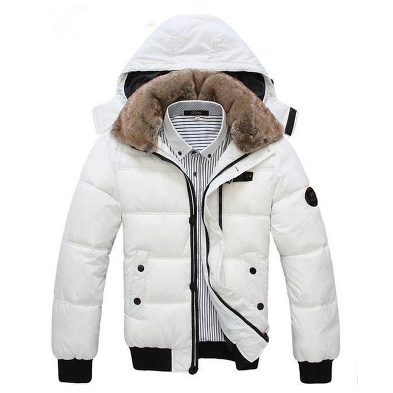 Hot Selling 2015 Man's Jacket Classical Warm Men Zipper Solid Hat Detachable Coat Black White Size L-XXXL MWM001
