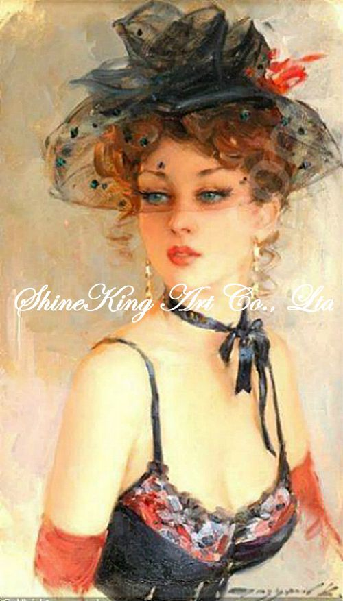 handpainted impressionist oil painting on canvans beautiful girl art painting RWI2816 40x60cm(China (Mainland))