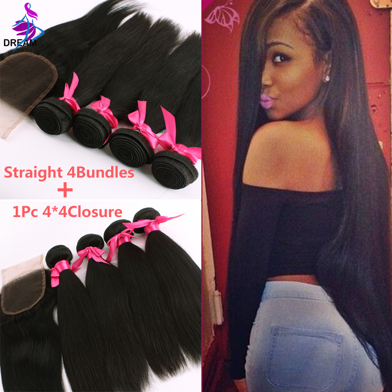 Brazilian Virgin Hair Straight 4 Bundles With Closure Brazilian Hair Weave Bundles Brazilian Virgin Hair With Closure Straight<br><br>Aliexpress