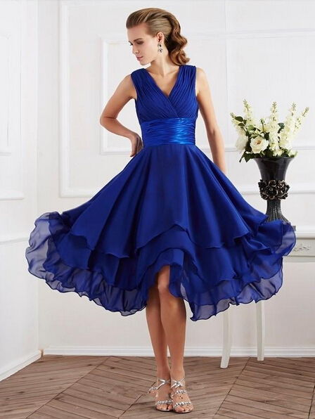 2016 Blue Tea Length A Line Bridesmaid Dresses V Neck Tiered Backless