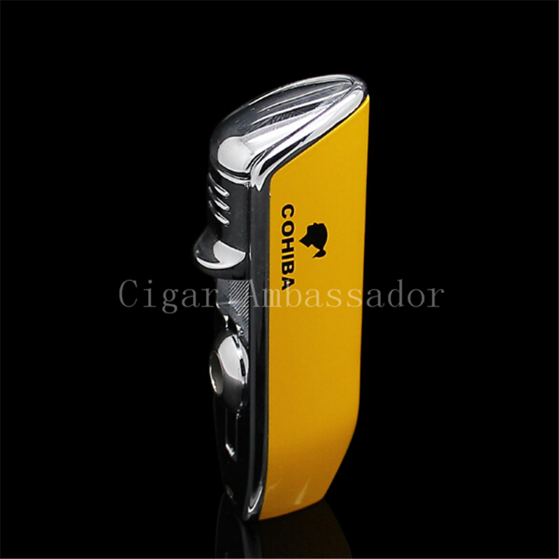 COHIBA Tool Pocket Size Gloss Yellow Metal Snake Mouth Shape Butane Gas Windproof 3 Torch Jet Flame Cigarette Cigar Lighter(China (Mainland))