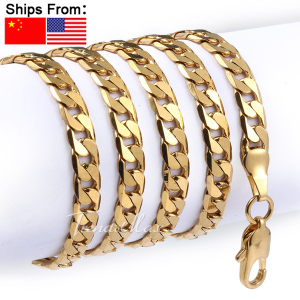 Customized 5mm Rose Yellow Gold Filled Mens Chain Womens Unisex Cut Flat Curb Link 18K Wholesale Necklace LGNM89(China (Mainland))