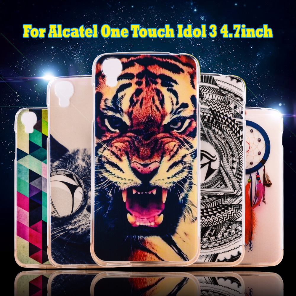 Phone Case For Alcatel OneTouch Idol 3 6039 4.7 '' Cover cell phone bags Housings Silicon Protective Shell Soft TPU Shield Cases(China (Mainland))