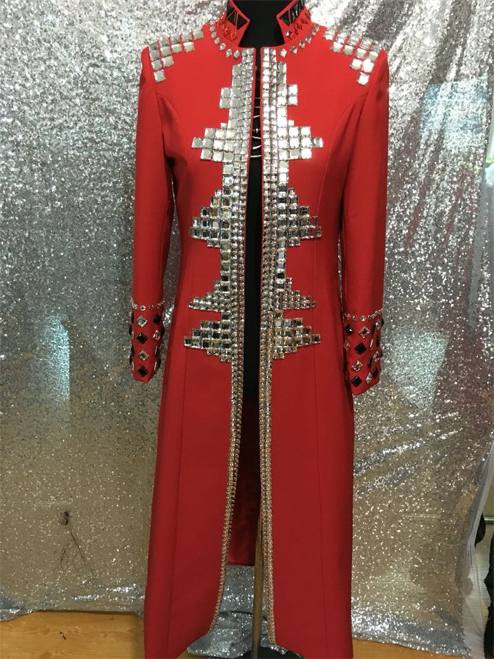 Plus size Custom made red Crystal men's ds dj male singer dance performance long style outerwear costume rhinestone jacket coat(China (Mainland))