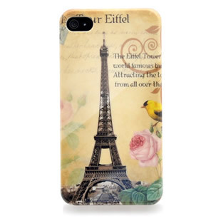 FREE SHIPPING 1 PCS Retail wholesale  2013  Eiffel Tower with flower design cell phone case for iphone 4/4s