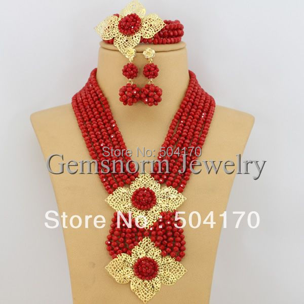Splendid African Jewelry Sets 18K African Crystal Beads Jewelry Set for Wedding Statement Necklace Jewelry 2015 GS038(China (Mainland))
