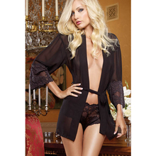 Mysterious Feeling Design New Shorts Robes Lingerie Fashion Woman Black Sheer Soft Sexy Babydoll Lace Robe L2750-2