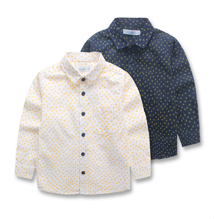 Y2-00535 Wholesale New 2015 Spring Autumn Boys Shirts Print Flower Boy Blouses Turn-down Collar Full Sleeve Children Clothes Lot<br><br>Aliexpress