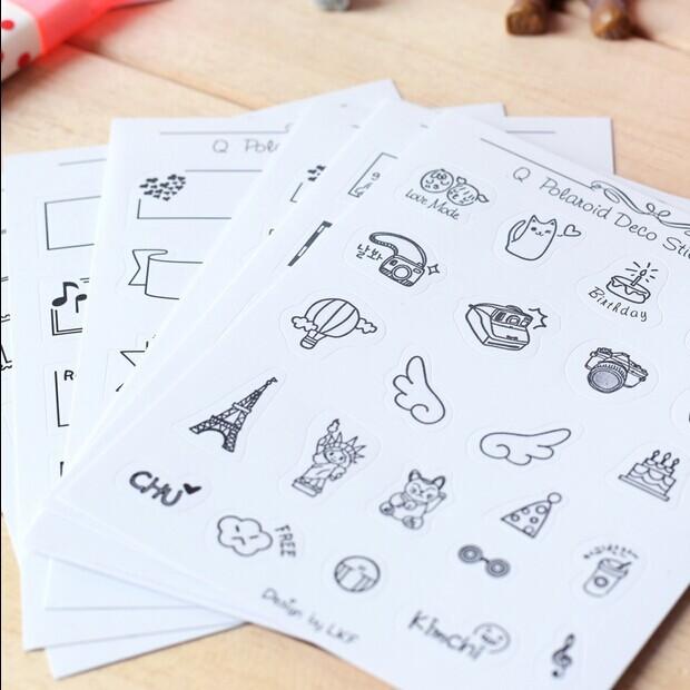 Creative PVC stickers Photo mini decoration Sticker Black and white patterns child DIY toy 8sheets/set(China (Mainland))