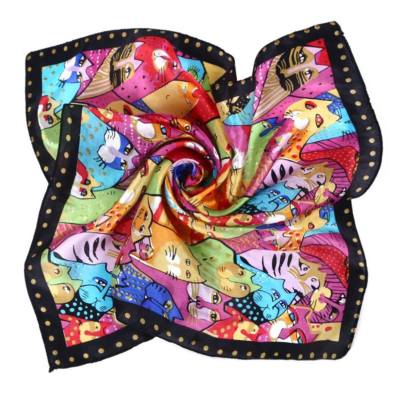 LING/Square Silk Head Scarf Bandana,2015 NEW Satin Neck Scarf Women Echarpe,Foulard ladies scarves Kerchief 53*53 CM/XF88008(China (Mainland))