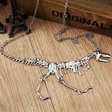 2015Hot Sale Classic Unisex Steampunk Goth Alloy Dinosaur Skeleton Dead Tyrannosaurus T-Rex Charm Pendant Necklace Free Shipping(China (Mainland))