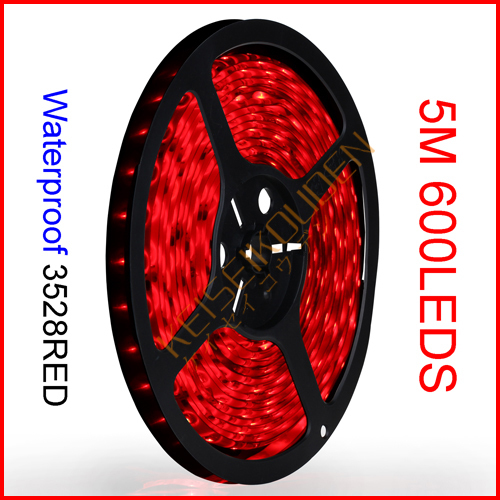 ( 15reel/lot ) 5M/Reel 12V SMD 3528 600 LEDs 120 LEDs/M Red Waterproof Flexible LED Strip Lights Wholesale(China (Mainland))